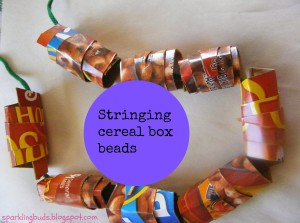 Cereral box beads for toddlers