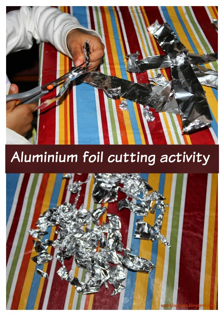 Aluminium foil cutting activity for toddlers