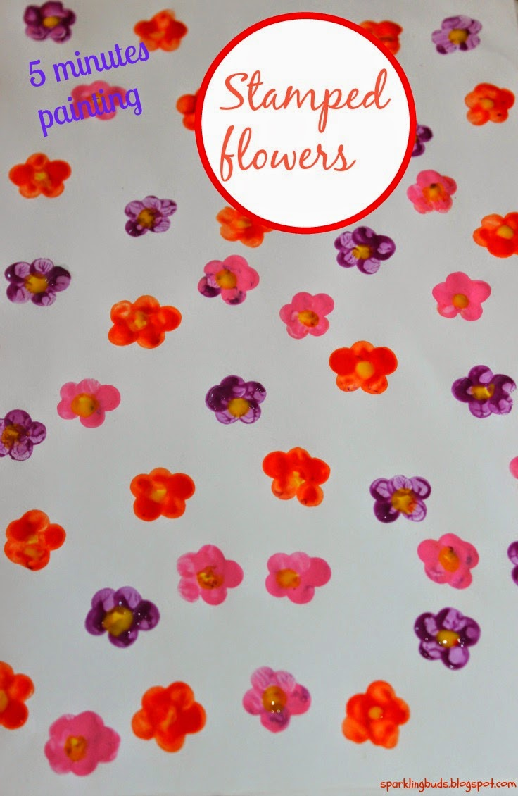 Stamped flowers painting - sparklingbuds